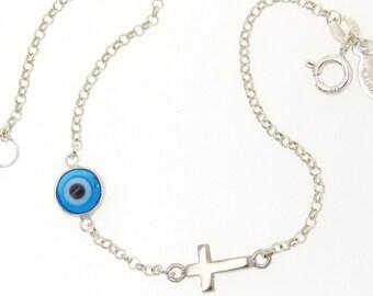 Baby Evil Eye Bracelet With Sideways Cross, Protective Baby Bracelet - Sterling Silver - Dainty Bracelet All Sizes Available