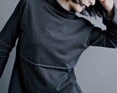 Rid of Me - iheartfink Solid Black Long Sleeve Cowl Top, Womens Modern Beatnik Tunic, Unique Handmade Futuristic Fashion, Edgy Tunic Top