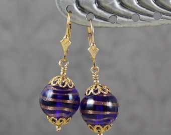 Venetian Glass Blue and Gold Beaded Dangle Earrings