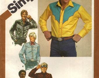 Simplicity 9886 Men's Western Shirt, Scarf & Tie YOKE VARIATIONS  ©1980