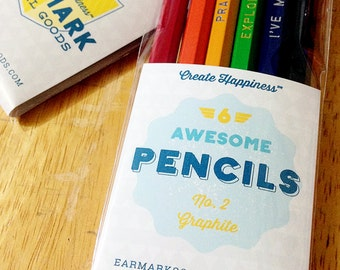 Pencil Mix Up, Choose your own set of 6 MANY unique colors and sayings Great Gift under 10 bucks