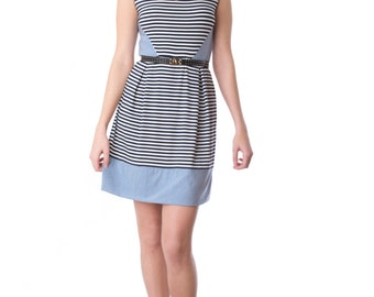 Starboard summer dress - woman's nautical inspired striped vneck dress in bamboo jersey