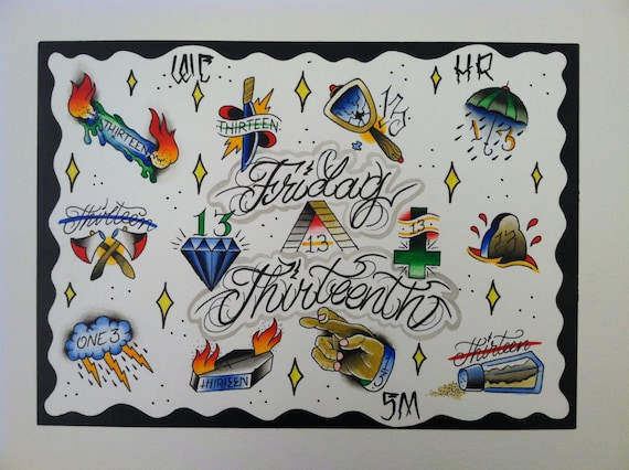 Friday the 13th tattoo flash page for Friday the 13th tattoos michigan