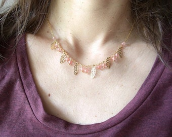 Golden Brass Necklace with Leaves and Pale Pink Stones