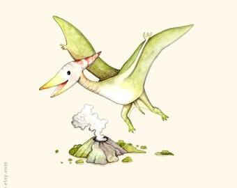 Boys nursery, Dinosaur print, Dinosaur painting, Dinosaur illustration, Boys room, Nursery wall art, animal alphabet print, Pteranodon