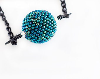 Beaded Bead Necklace // Teal // Green // Seed Beads // Beadwork // Beaded Pendent