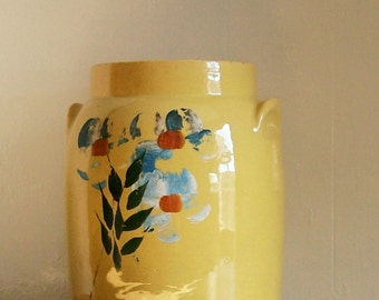 Vintage McCoy Pottery Cookie Jar Crock Housewares Cottage Kitchen Yellow Wheel-Thrown