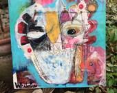 Original Painting Square Owl Mixed-media