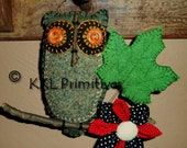 Folk Art 100% GRAY WOOL OWL Hanging Ornament