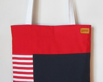 ON SALE Away We Go Red, Stripes and Navy blue Nautical themed Tote Bag