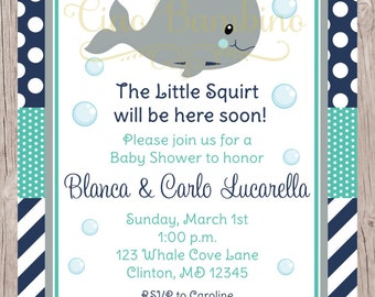 PRINTABLE Whale Baby Shower Invitation /  Navy Blue, Gray and Turquoise / You Print - 0025