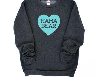 Mama Bear with Heart Dark Heather Grey Sweatshirt with Aqua Blue Print