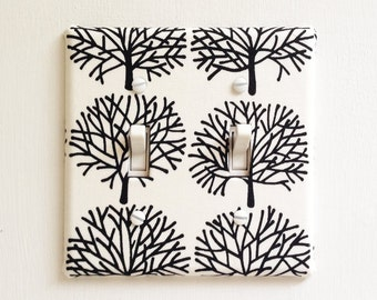 Double Standard Light Switch Plate Cover - white with black trees