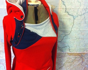 For Nursing Moms Everywhere - sweatshirt HOODIE and NURSING UPGRADE.  Red and navy french terry hoodie. Maternity top.