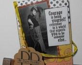 Vintage Collage Art Card Handmade Hand stamped Humor Inspirational Blank inside