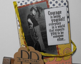 Vintage Collage Art Card Handmade Hand stamped Humor Inspirational Blank inside