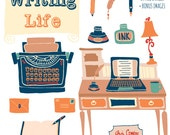 WRITING LIFE - Hand Drawn Clip Art Set Digital Graphics - Personal License