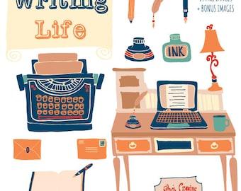 WRITING LIFE - Hand Drawn Clip Art Set Digital Graphics - Personal License