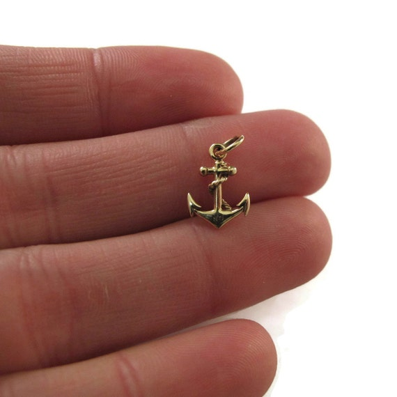 Gold Anchor Charm, Small Gold Nautical Anchor with Rope, Natural Bronze Charm for Bracelet or Necklace (CH-600b)