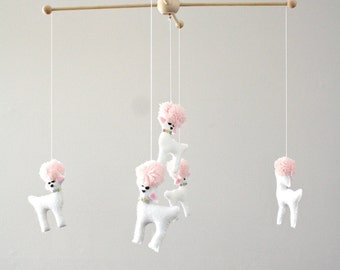 Poodle Dog Animal Baby Crib Mobile Girls Nursery Decor - White - Pink - Girly