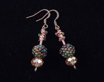 Peyote Earrings, Seed Bead Earrings, Drop Earrings, Dangle Earrings, Beaded Beads, Peyote Stitch, Gourd Stitch, Bugle Bead
