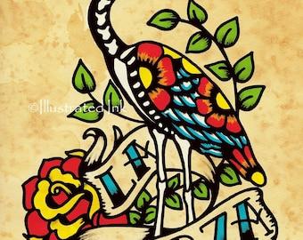 Day of the Dead Tattoo Art LA GARZA Loteria Print 5 x 7, 8 x 10 or 11 x 14