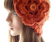 Burnt Pumpkin Head Warmer with Flower, Crochet Ear Warmer, Women's Head Band, Buttoned Head Wrap, HW112-01