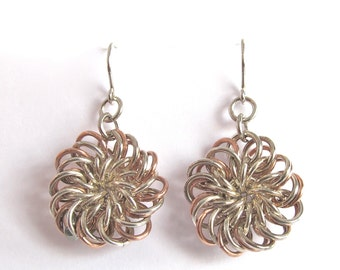 Chainmaille Chrysanthemum Earrings Sterling Silver and Copper - 312021