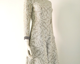 60s Silver Metallic Brocade Gaucho Gown Space Age Modern Evening Gown Jumpsuit.
