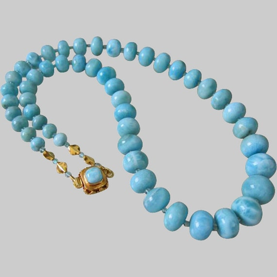 25% OFF-Exceptional Larimar-Apatite-Solid 22k 18k Gold Necklace with Larimar Clasp