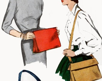 1950s Hats and Bags Pattern Simplicity 3322 Clutch Purse or Shoulder Bag Purse Vintage 50s Sewing Pattern Size Large Hat Size 23 UNCUT