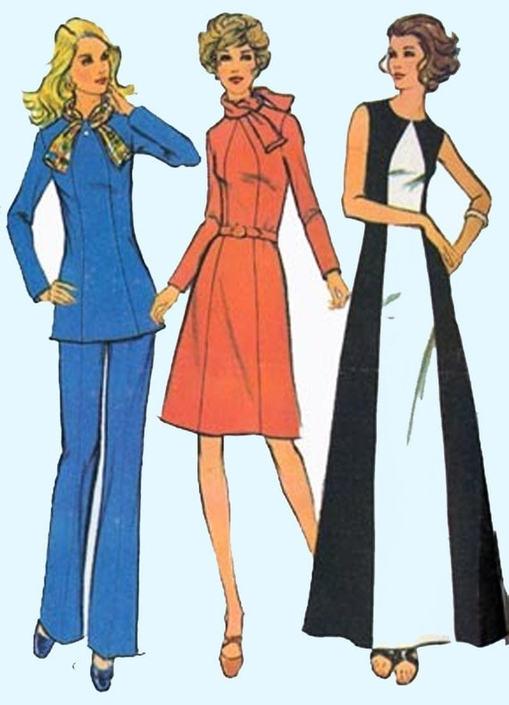 1960s A Line Dress McCalls 3411 Womens MOD Tunic and Pants Vintage 70s Sewing Pattern Size 10 Bust 32.5 UNCUT