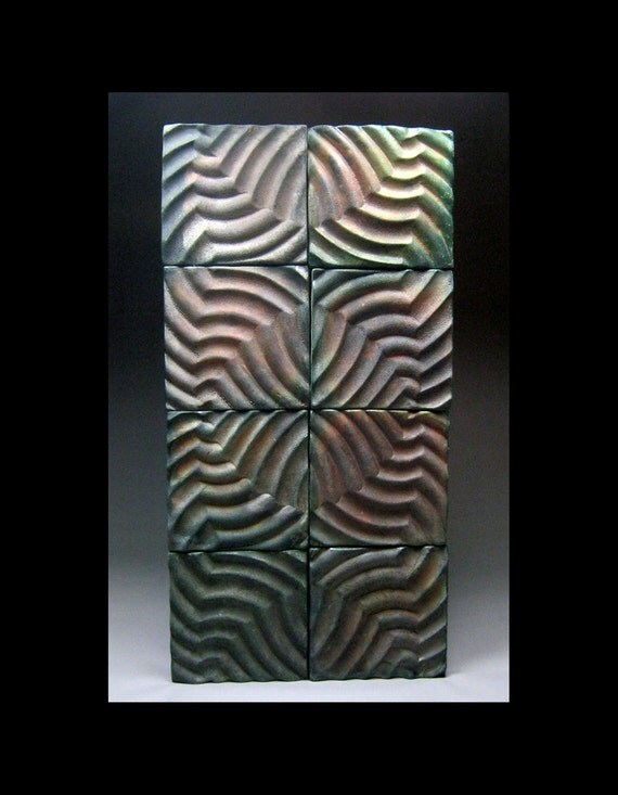 "Raku Wall Sculpture-""Ripples In The Night"""