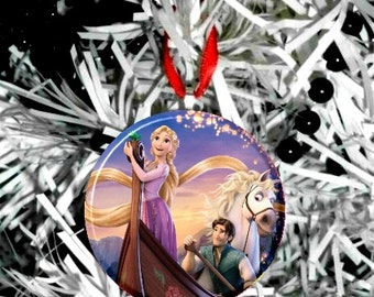 Tangled Rapunzel Boat Christmas Tree Ornament -Personalize Option