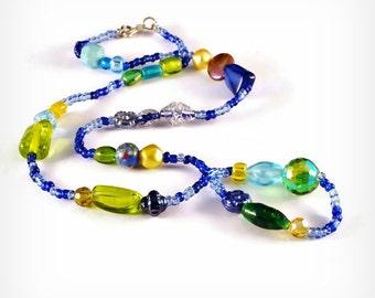 Sarahbushka's Random Bead Necklace Blue Range Beaded Random Pattern Mixed Message Eclectika