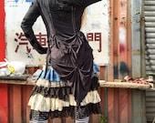 Gothic Lolita Hood Shirt, black tunic, long sleeve top, Crude Things