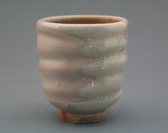 Yunomi, wood-fired stoneware w/ blushing shino and natural ash glazes