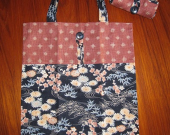 Tuck and Roll Fold-Up Portable Shopping Tote Japanese Floral Design Navy