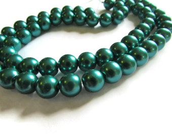 10 Inch Strand of 10 mm Forest Green Glass Pearl Beads Faux Pearls