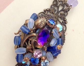 Statement Necklace The Blue Hour Heirloom Necklace art nouveau style antique estate jewelry
