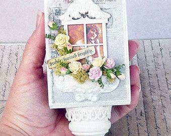 ooak handmade shabby chic floral art block