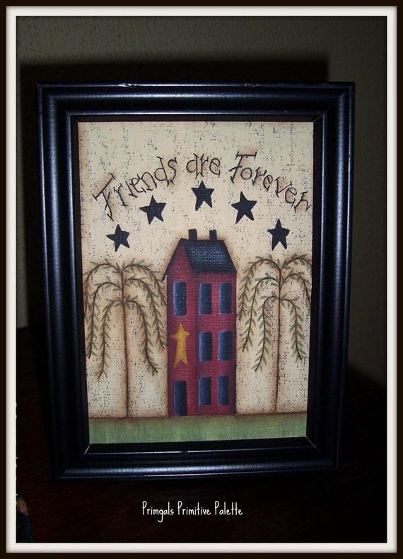 Primitive Saltbox House 5 X 7 Framed Canvas Friend Home Decor