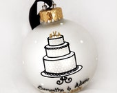 Bride and Groom Cake Topper Wedding Ornament - Hand Painted and Personalized