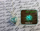 Frozen Heart Galaxy Glowing Glass Necklace