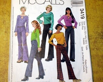 UNCUT McCall's 3419 Pattern, Girls Plus Size Low Rise Pants & Tops for Stretch Fabric, Size 10, 12, 14, 16