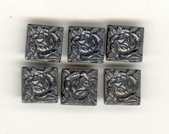 6 Vintage 1920's Czech Hematite Or Gunmetal Etched Carved ROSE Art Deco Glass Steam Punk Cabochon  12mm No.726
