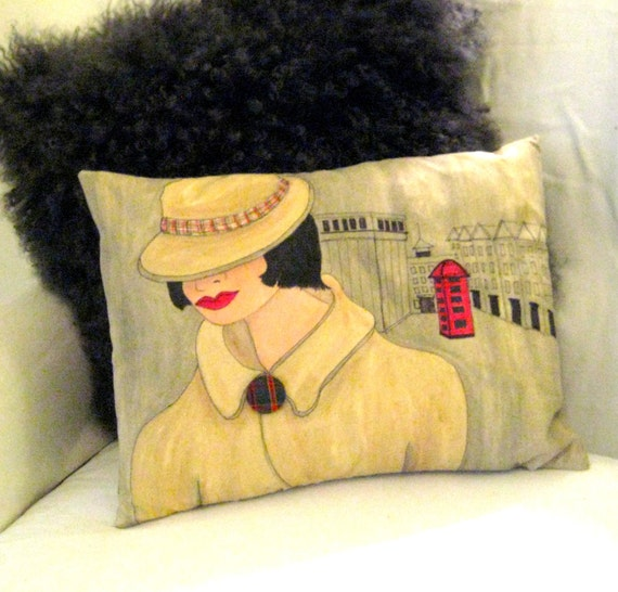 new...VANESSA SOFA PILLOW, handpainted pillow, London, telephone, taupe, gift for woman, classy quote, hat, mysterious woman, red, Burberry
