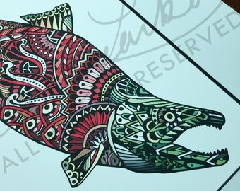 """Limited Edition Sockeye Salmon Zentangle Fish Art Gicleé Print 8.5""""x11"""" Archival Matted to 11""""x14"""""""