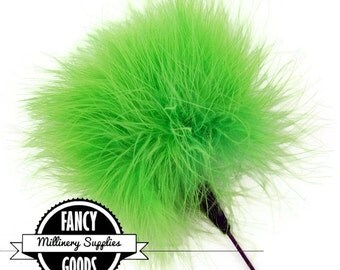 Lime Green - Feather Pom Pom Pick - Marabou - Ostrich Feather Pick - Pom Pom - Poof - Millinery Feather - Bouquet Pick