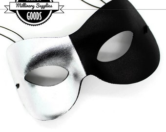 Black / Silver  - Men's - Satin Masquerade Mask - Prom Mask - Venetian Mask - Mens / Unisex